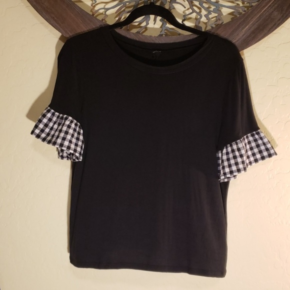 This & More Tops - Black Top w/ Gingham Bell Sleeves
